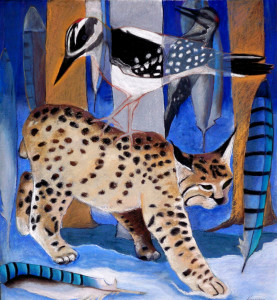 "The Secret:When Bobcat Walks through WinterOriginal: w/c and pastelon 300# hot press w/c paper19 x 20.5"": $7500.Archival Quality Giclee Print16 x 17"": $475."